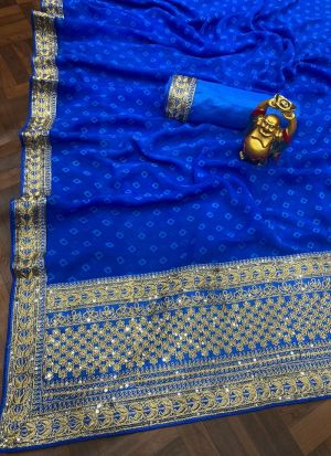 Royal Blue Digital Printed Saree