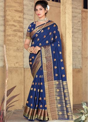 Royal Blue Pure Soft Silk Saree