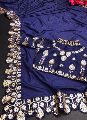 Royal Blue Sequence Work Saree