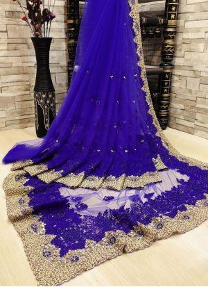 Royal Blue Thread Work Saree