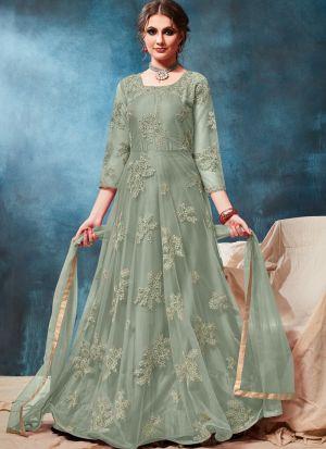 Sage Color Net Traditional Floor Length Anarkali Suit