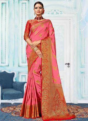 Salmon Pink Nylon Silk Indian Traditional Saree Collection