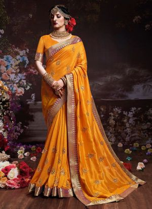 Sana Silk Yellow Color Festive Wear Saree With Lace Jequard Work