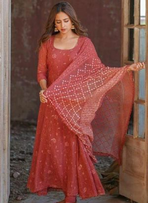 Sargun Mehta Red Georgette Embroidery Suit