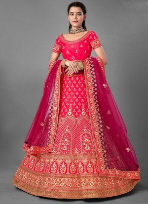 Satin Thread Work Lehenga Choli In Dark Pink Color