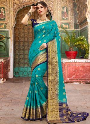 Sea Green Naylon Silk Beautiful Printed Saree