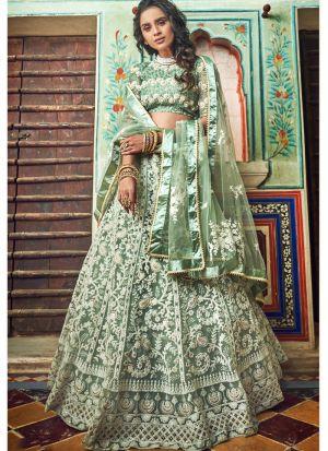 Sea Green Soft Net Indian Designer Lehenga Choli
