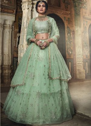 Sea Green Soft Net Latest Designer Lehenga Choli