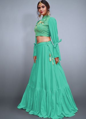 Sea Green Tafetta Silk Volume 8 Bride Maids Lehenga Choli