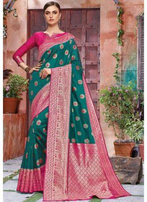 Self Design Banarasi Crystal Silk Dark Green Indian Saree