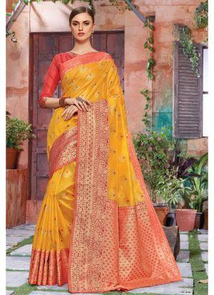 Self Design Banarasi Crystal Silk Yellow Indian Saree