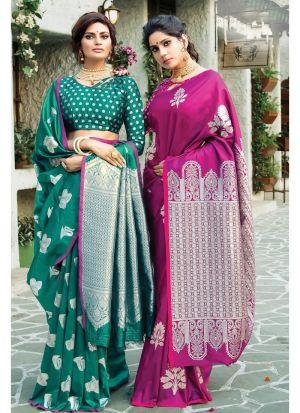 Self Design Paper Silk Purple Indian Saree