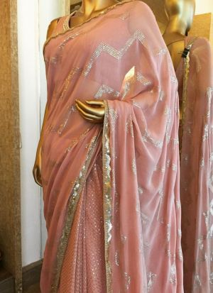 Sequence Georgette Saree In Dusty Pink