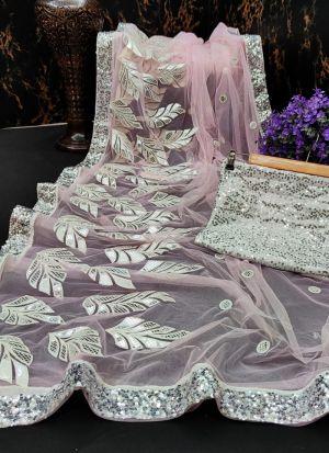 Sequence Work Pink Naylon Mono Net Wear Saree