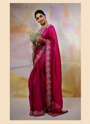 Shiny Magenta Thai Organza Silk Saree
