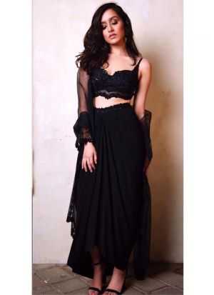 Shraddha Kapoor Black Gorgette Plain Lehenga Choli With Net Dupatta
