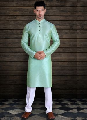 Silk Pista Green Kurta With Cotton Pajama