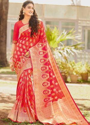 Silk Red Designer Traditional Saree For Wedding