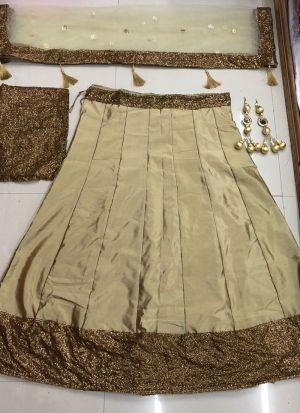 Simple Cream Tafetta Silk Sequence Work Lehenga Choli