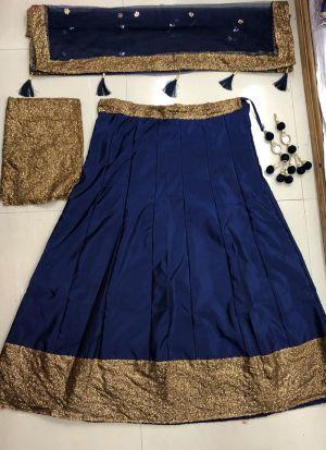 Simple Navy Tafetta Silk Sequence Work Lehenga Choli