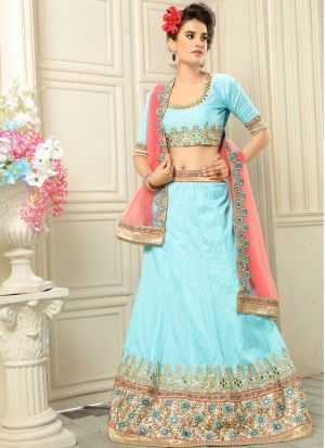 Sky Blue Banglori Traditional Lehenga Choli