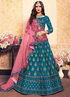 Sky Blue Embroidered Designer Bridal Lehenga Choli