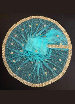 Sky Blue Embroidered Saree