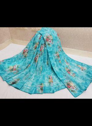Sky Blue Georgette Digital Printed Saree