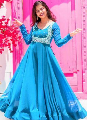 Sky Blue Heavy Georgette Anarkali Gown