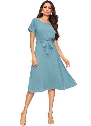 Sky Blue Knitting Short Dress With Belt