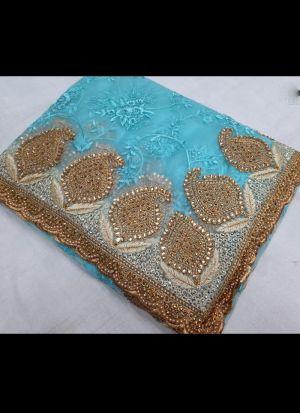 Sky Blue Nylon Net Embroidered Saree