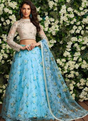 Sky Blue Organza Silk Designer Lehenga Choli With Fancy Thread Work SN 141