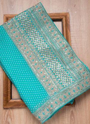 Sky Blue Rajwadi Silk Dori Work Saree