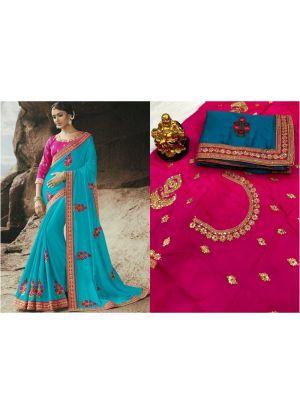 Sky Blue Rangoli Designer Traditional Saree