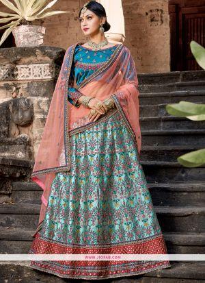 Sky Blue Resham Embroidery Satin Designer Lehenga Choli