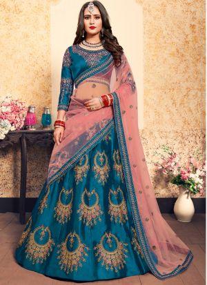 Sky Blue Satin Designer Lehenga Choli For Sangeet