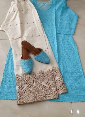 Sky Blue Sequence Work Top With Palazzo