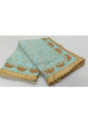 Sky Blue Soft Net Festive Wear Traditional Saree With Heavy Embroidery Work