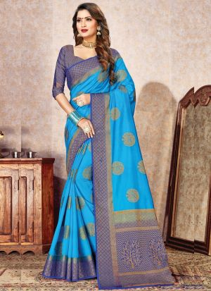 Sky Blue South Indian Naylon Silk Saree For Festival