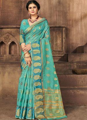 Sky Blue Weaving Work Saree