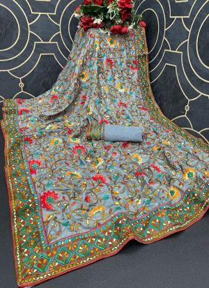 Slate Blue Dola Silk Stylish Saree