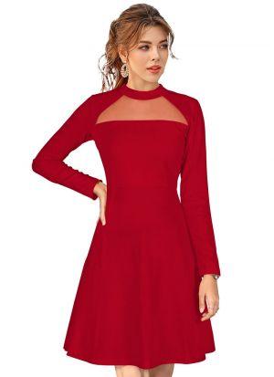 Sleeveless Red Knitted Short Dress