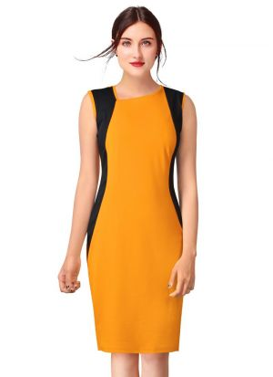 Sleeveless Yellow Knitted Short Dress