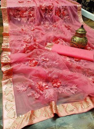 Soft Mono Nylon Net Pink Saree