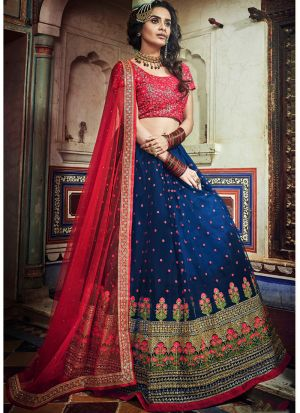 Soft Net Navy Traditional Lehenga Choli