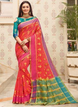 South Indian Wedding Cotton Handloom Red Saree