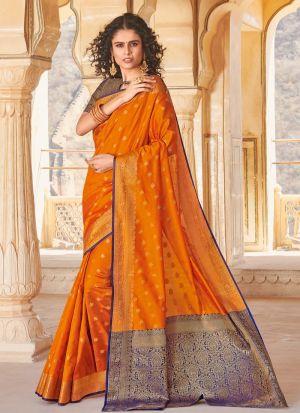 South Indian Wedding Handloom Silk Mustard Saree