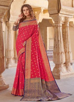 South Indian Wedding Handloom Silk Red Color Saree