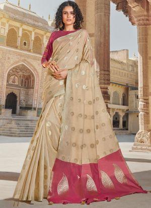South Indian Wedding Linen Cotton Light Cream Saree