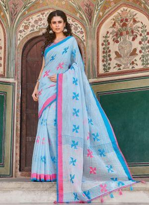 South Indian Wedding Linen Cotton Light Sky Blue Saree